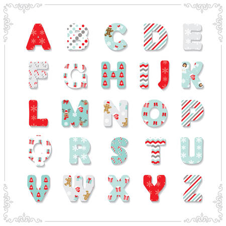 Christmas font. Different patterns included under clipping mask.