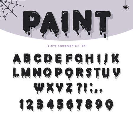 Halloween black paint slimy font. Paper cut out cartoons.