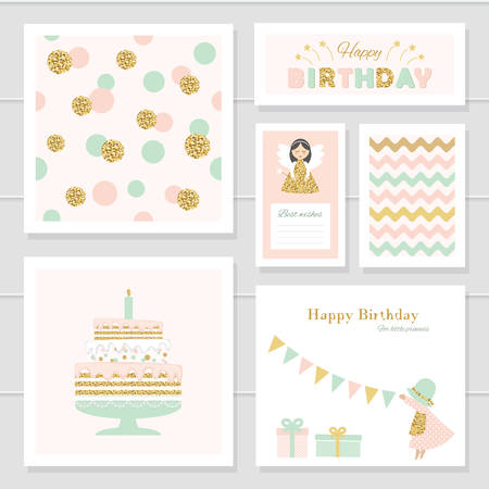 Cute cards with gold confetti glitter for girls. Can be used for baby shower, birthday, valentines day, party invitation. For print and web. Trendy colors.