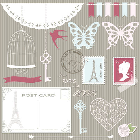 Scrapbook design elements and silhouettes set. Girly.