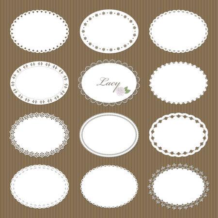 Grands napperons ovales en dentelle sur fond de carton. Pour la conception de scrapbooking, d'anniversaire ou de baby shower. Vecteurs