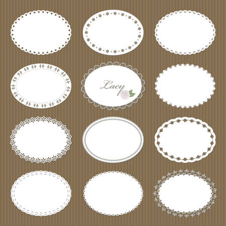 Oval lacy doilies big set on cardboard background. For scrapbook, birthday or baby shower design. 矢量图片