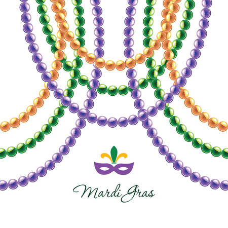 Mardi Gras beads necklace decorative template isolated on white. Fat tuesday carnival. Vector illustration