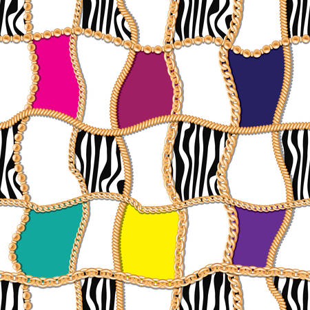 Modern seamless pattern with golden chains checkered backdrop. For textile, scarf, cravat design. Vector illustration.