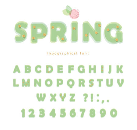 Light green spring font. Transparent ABC letters and numbers isolated on white. Vector Ilustração