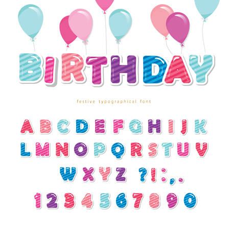 Festive colorful paper cutout font. Bright cartoon ABC letters and numbers isolated on white. For birthday posters, banners, greeting cards, room decoration. Vector illustration
