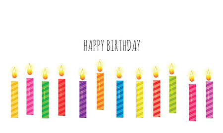 Birthday greeting card template. Colorful candles set isolated on white. Vector illustration