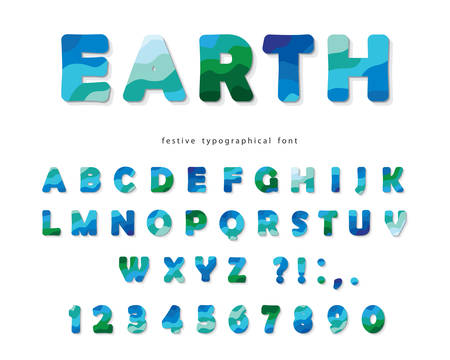 Earth landscape modern font. Blue and green ABC letters and numbers isolated on white. Creative alphabet for environment, ecology, travel design. Vector illustration