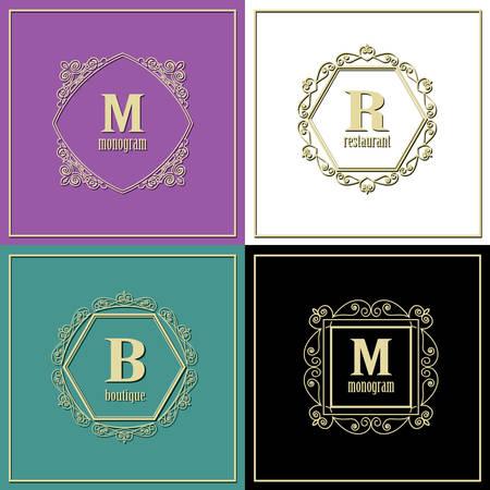 Luxury golden frames set. Monogram logo template. Vector Stock Vector - 117904723