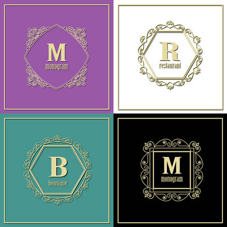 Luxury golden frames set. Monogram logo template. Vector Illustration