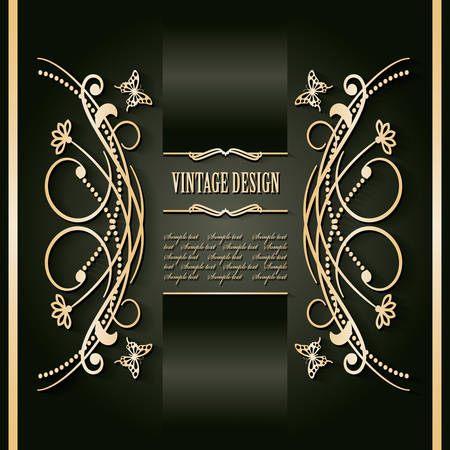 Vintage golden frame template. Luxury design. Vector illustration