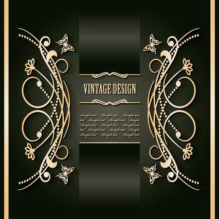 Vintage golden frame template. Luxury design. Vector illustration