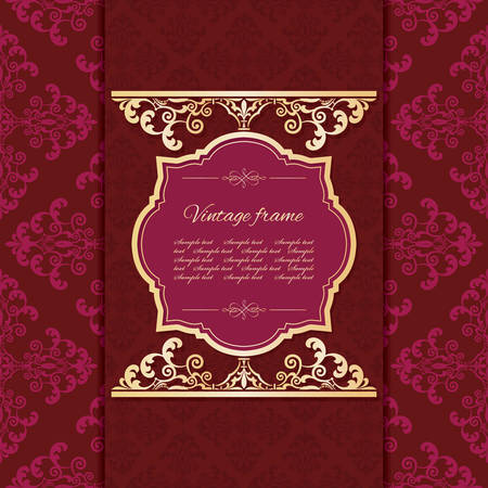 Vintage golden frame template on damask background. Vector illustration