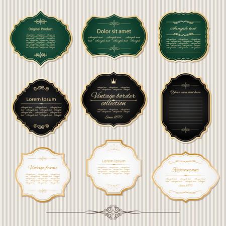 Vintage golden frames and labels set. Luxury design.