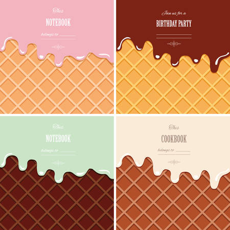 Cream melted on wafer background set. Ice cream cone close up. Cute design with sample text.