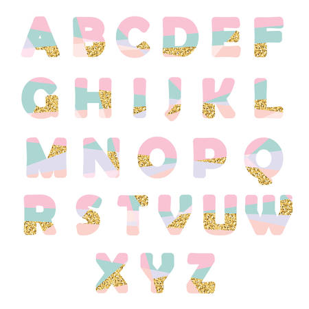 Modern abstract font with glitter. Creative ABC letters can be used for sale, birthday party, shop, present, header, broshure.