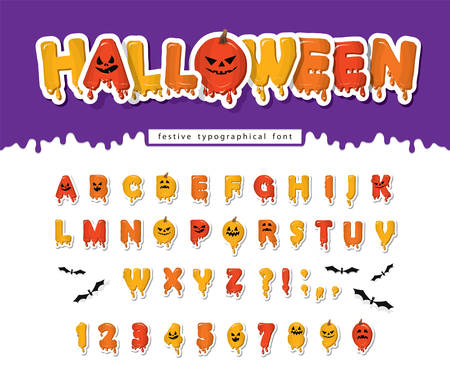 Halloween pumpkin font. Paper cut out letters and numbers with cpooky creepy faces. Cartoon funny alphabet for kids. Vector