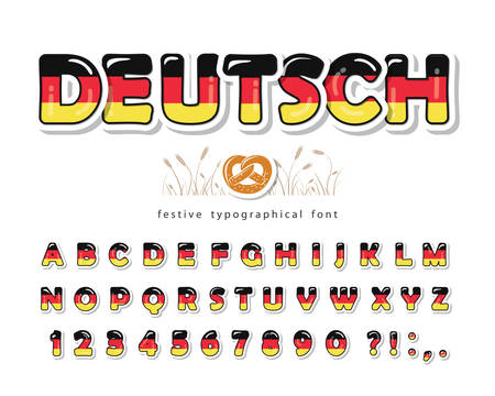 Germany cartoon font. German national flag colors. Paper cutout glossy ABC letters and numbers. Bright alphabet for tourism design. Vector