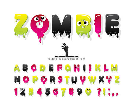 Zombie halloween font. Jelly slim colorful letters and numbers. Creative scary alphabet isolated on white. Vector 向量圖像