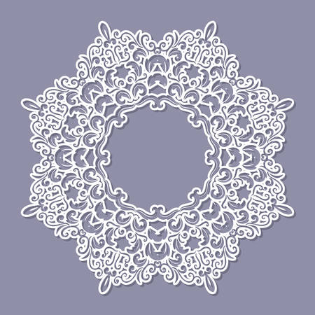 Lacy doily frame. Filligree paper cut out template. Vector
