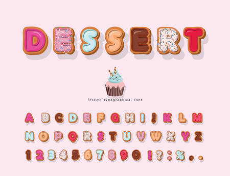 Sweet cartoon font. Decorative colorful letters and numbers. Cute alphabet for girls. Vector