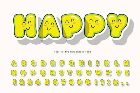 Kawaii bubble font with funny smiling faces. Cute cartoon alphabet. For birthday, baby shower, greeting cards, party invitation, kids design. Vector illustration Ilustracje wektorowe