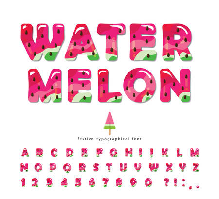 Watermelon summer bright font. Cartoon decorative alphabet. Glossy letters and numbers isolated on white. For package, poster, banner, T-shirt, brochure design. Vector