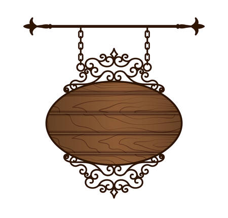 Wooden signboard isolated on white. Vintage filigree frame. Vector