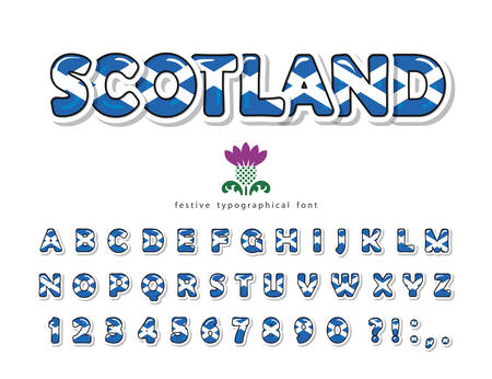 Scotland font. Scottish national flag colors. Paper cutout glossy ABC letters and numbers. Bright alphabet for tourism t-shirt, souvenir design. Vector Vettoriali