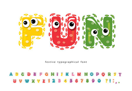 Funny font for kids. Cute monster characters. Cartoon colorful letters and numbers. For birthday, school, Halloween, T-shirt design. Vector illustration