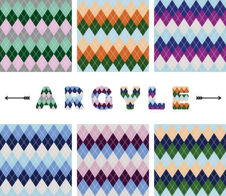 Argyle seamless pattern set. Textile colorful backgrounds. Vector Çizim