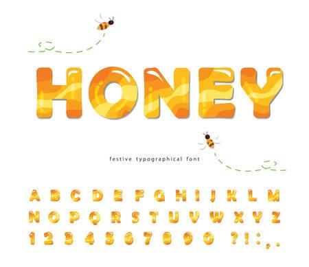 Honey glossy font. Sweet cartoon alphabet isolated on white. Vector