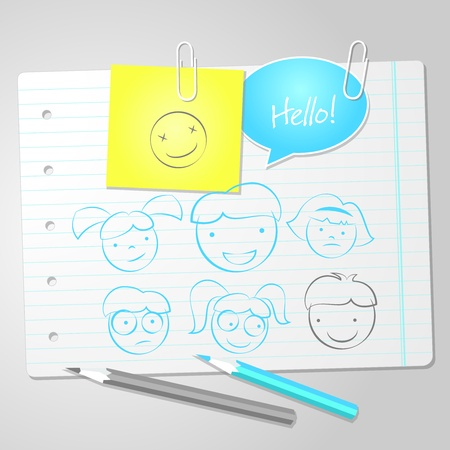 Exercise book paper with scribbles Vector