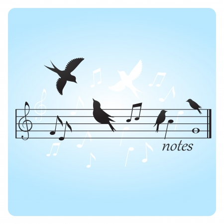 Abstract illustration of birds on music notes