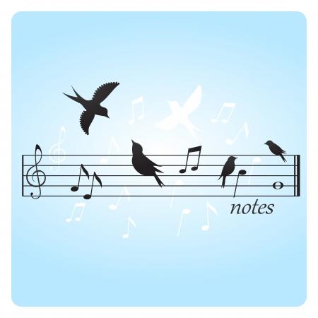 canta: Illustrazione astratta di uccelli su note musicali Vettoriali