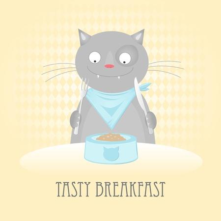 rhombic: The kitten eats breakfast