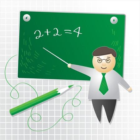 School Teacher in de buurt schoolbord, abstracte illustratie Vector Illustratie