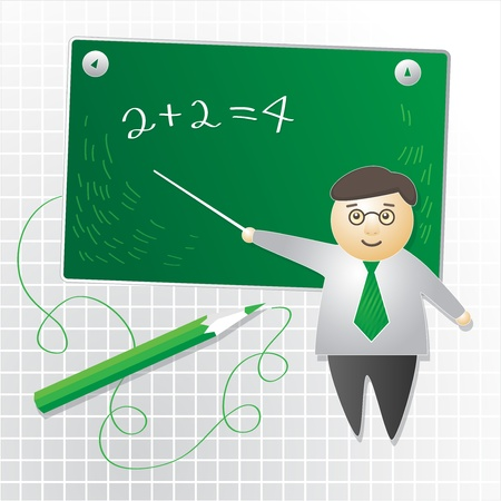 example: School Teacher near blackboard, abstract illustration