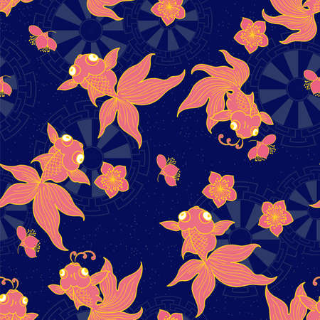 金魚柄の壁紙