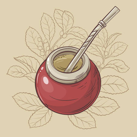 mate: Illustration with mate tea in calabash and bombilla