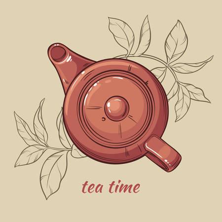 Vector Illustration mit braunen Teekanne auf braunem Hintergrund