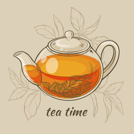 Vector Illustration with glass teapot on brown  background