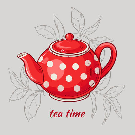 Vector Illustration with red teapot on grey  background
