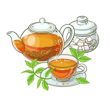 차, 찻 주전자, 설탕 그릇 및 찻잔의 그림 흰색 배경에 단풍