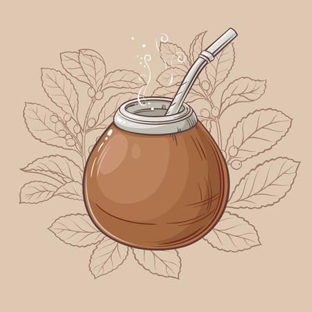 Illustratie met mate thee in kalebas en bombilla