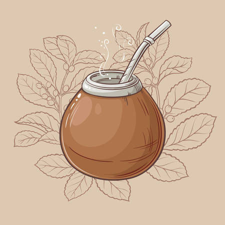 Illustration with mate tea in calabash and bombilla