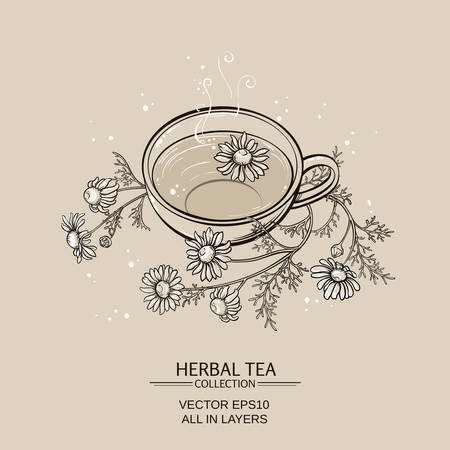 chamomile tea: Illustration with cup of chamomile tea on brown background Illustration