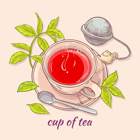 strainer: vector illustration with cup of tea, tea spoon and tea-strainer on color background