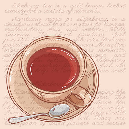 vector illustration with cup of tea and spoon  on color background