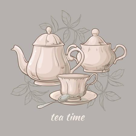 灰色の背景に紅茶、ティーポット、シュガー ボウルのカップのイラスト  イラスト・ベクター素材